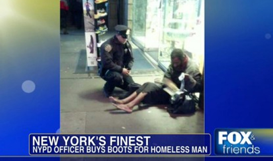 Sometimes the cops help the homeless and sometimes it's the other way around.