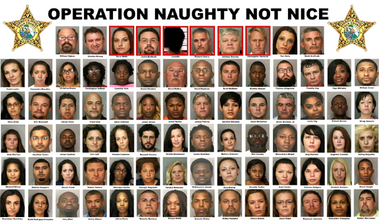 A series of mugshots aggregated by the Polk County Sheriff's Office in Florida after a prostitution sting. Busting johns and hookers has never exactly been one of the more challenging aspects of police work.