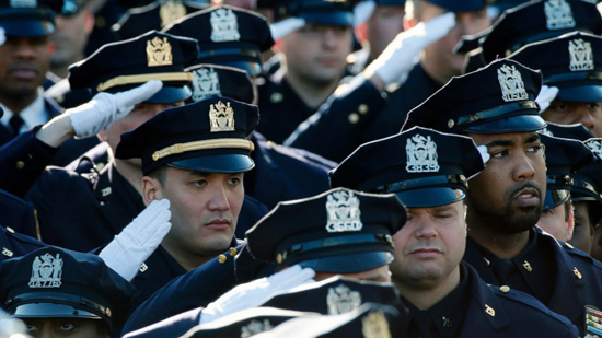 Tens of thousands of uniformed officers came from all over the United States and Canada to show their respects and support for the New York City Police Department.