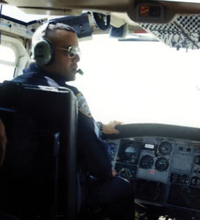 Steve Bonano piloting helicopter