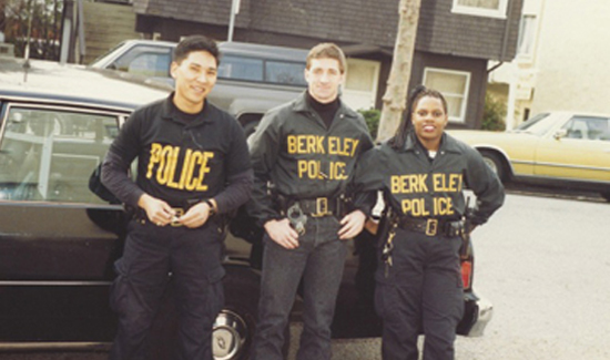 "Stern (center) worked as a cop when he was in law school. He's pictured here with two of his fellow officers from the Berkeley Police Dept. ""The law,"" Harry says, both as codified and as interpreted by the courts, recognizes the Herculean task that we give the police. They are thrust into situations by duty, not choice, under complicated circumstances not of their creation."""