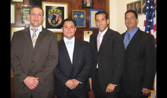 Tony with his colleagues from the Major Case Squad. (Left to Right): Detectives Vincent Chirico, Tony Diaz, Mike Dorto, and Alfonso DiStefano.The day this picture was taken, the team was searching for Massachusetts man who had robbed a Manhattan bank.