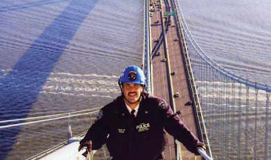 Inspector Steve Bonano on top of the Verrazano Narrows Bridge, 2004. When this photo was taken, Steve was commander of the NYPD's Emergency Service Unit.
