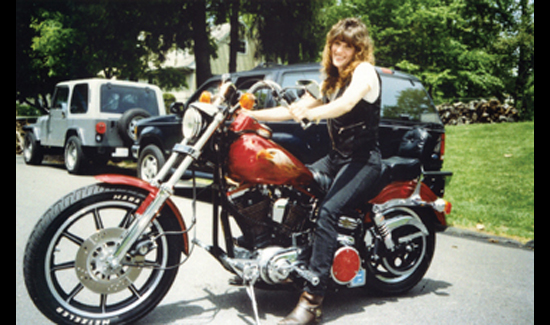 Ann-Margaret with her beloved bike. When Ann-Margaret and Pete met, they both rode Harleys. On their first date, they rode their bikes to Connecticut—in the rain.