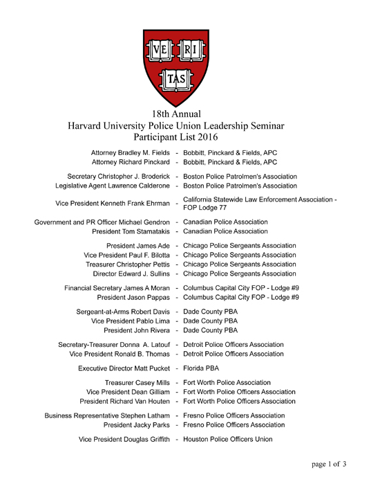 Harvard University Police Union Leadership Seminar Participant List ...