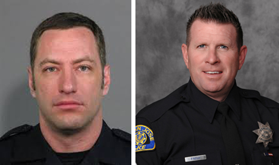 Paul Kelly (right), president of the San Jose POA, and his members have organized a fundraising drive to help the family of slain Officer Michael Johnson (left).