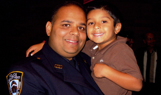 NYPD Det. Sam Panchal and his son, Jaan