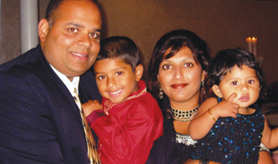 NYPD Det. Sam Panchal, his wife Alisha, and children Jaan and Aniah in 2010.