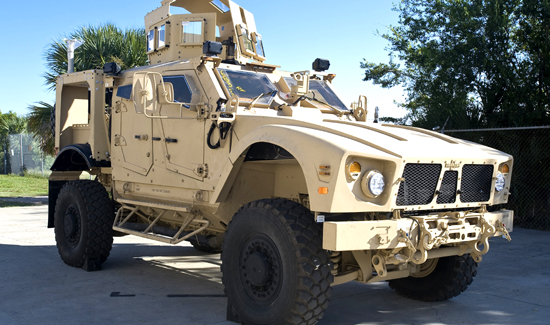 An Oshkosh M-ATV Mine Resistant Ambush Protected all-terrain vehicle.