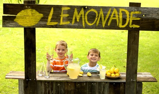 Two young boys at lemonade stand