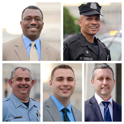 "The leaders of the DC Police Union who spearheaded the polling effort that lead to the ""no confidence vote"" for the Police Chief: Delroy Burton, Chairman;  Wendell Cunningham, Vice Chairman; Gregg Pemberton, Treasurer;  Marinos Marinos, Secretary; Russell Mullins, Executive Steward"