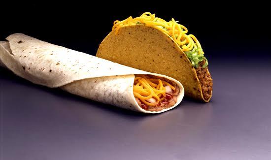 Taco and bean burrito