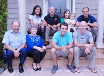 A close-knit group — Seated front row, left to right: Parents Lenny and Trudy, sons Matt and Chris. Back row, left to right: Jackie Bourne, Barry, sister Patty with her daughter Emma and son Dan.