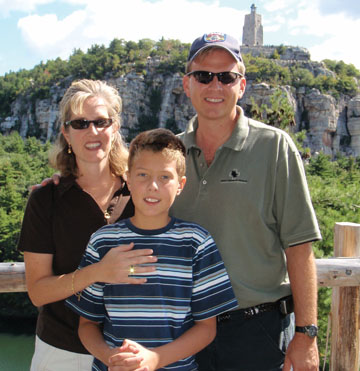 John, Chris, and son Joseph on vacation in upstate New York, 2008