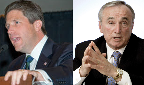 Left: Pat Lynch, President, PBA of New York City; right: William J. Bratton, NYPD Commissioner