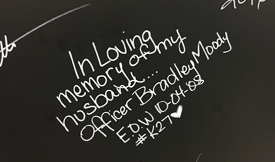 One widow left this tribute to her husband on the board.
