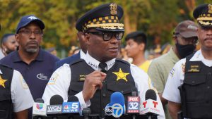 Chicago Police Superintendent David Brown announces new strategy to redeploy community safety officers to fight gangs