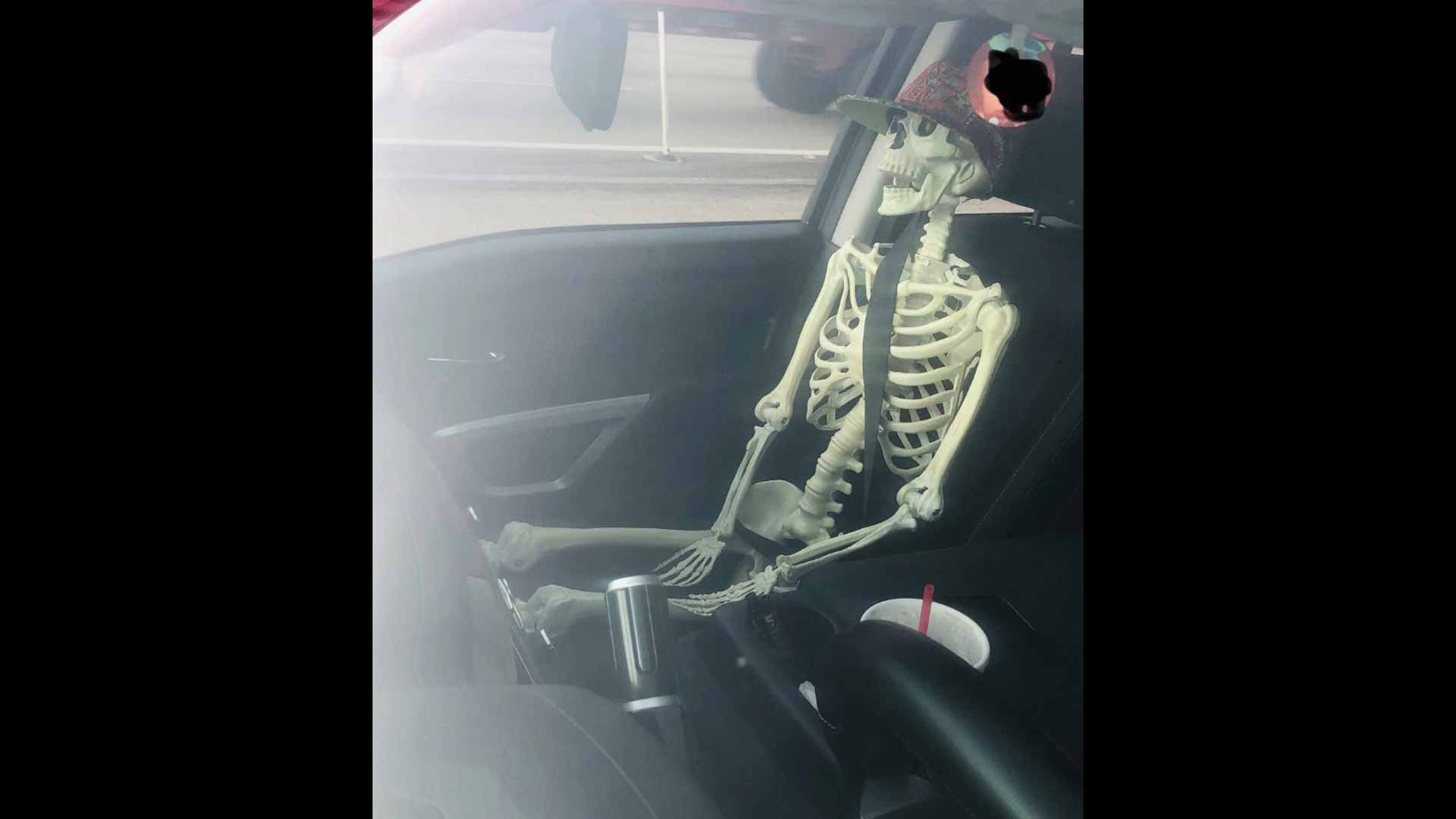 Halloween season is officially here as Texas man tries to fool police by carpooling with skeleton