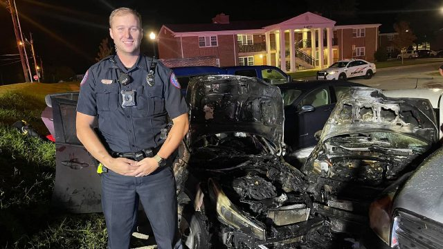 Tennessee police officer rescues unconscious man from burning vehicle with help from par-amedic